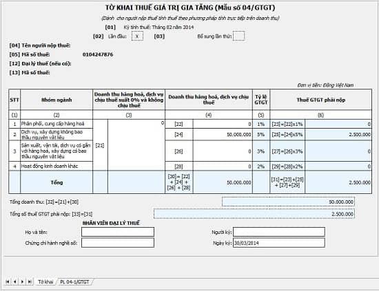 Lập tờ khai thuế GTGT cho doanh nghiệp