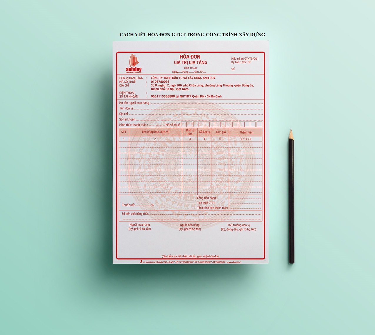 Cách viết hóa đơn GTGT trong công trình xây dựng - Công Ty TNHH Dịch Vụ Tư  Vấn CAF